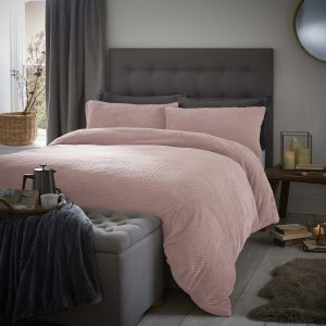 Silentnight Waffle Fleece Duvet Set - Blush