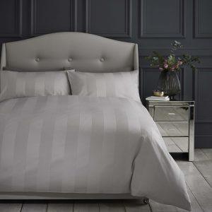 Silentnight Wide Sateen Stripe Duvet Set - Silver