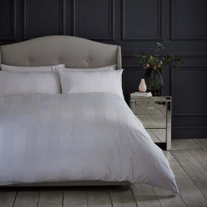 Silentnight Wide Sateen Stripe Duvet Set - White
