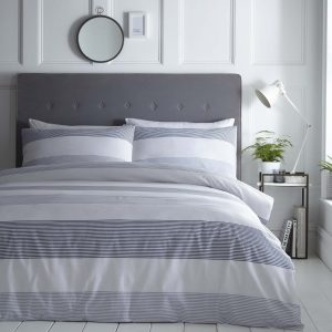 Silentnight Seersucker Stripe Duvet Set - Denim